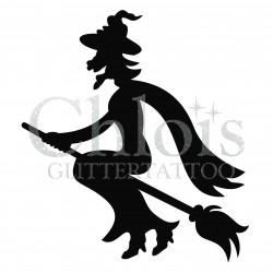 Sorcière n°8403 pochoir pour tatouage d'halloween