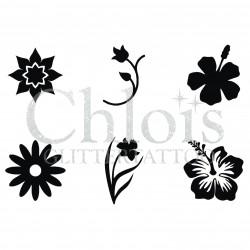 Pochoir n° 9300 avec plusieurs fleurs