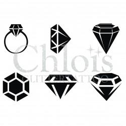 Diamants n° 9404 pochoir minis tattoos