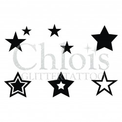 Etoiles n° 9409 pochoir tattoos multiple
