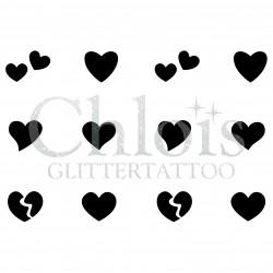 Minis Coeurs n° 9480 pochoir multi tatouages