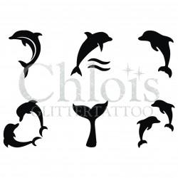 Stencil n° 9130 tatouages de dauphins