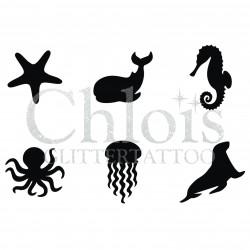 Stencil n° 9131 tatouages de vie sous-marine