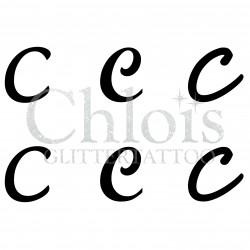 "Pochoir n° 9722 tatouage lettre ""C"""