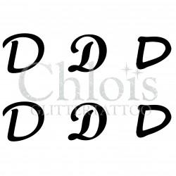 """Pochoir n° 9723 tatouage lettre """"D"""""""
