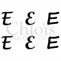 "Pochoir n° 9724 tatouage lettre ""E"""