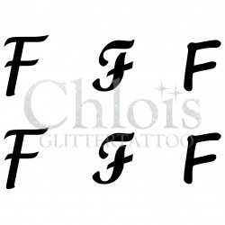 "Pochoir n° 9725 tatouage lettre ""F"""