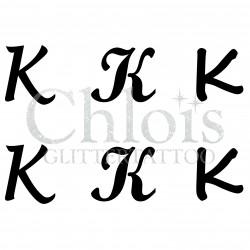 "Pochoir n° 9731 tatouage lettre ""K"""