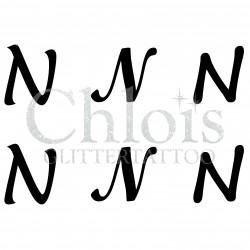 "Pochoir n° 9734 tatouage lettre ""N"""