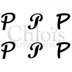 "Pochoir n° 9736 tatouage lettre ""P"""