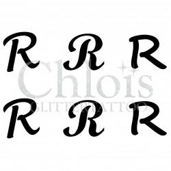 "Pochoir n° 9738 tatouage lettre ""R"""