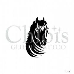 Cheval N°1408 pochoir chloïs Glittertattoo pour tatouage temporaire