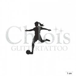 Footballeuse N°6504 pochoir chloïs Glittertattoo pour tatouage temporaire
