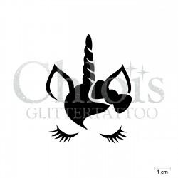 Oreilles de licorne N°1811 pochoir chloïs Glittertattoo pour tatouage temporaire