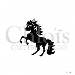 Cute Pony Princesse n°1810 pochoir pour tatouage enfant paillette anniversaire