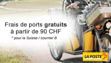 Frais de ports gratuits à partir de 70 CHF pour la Suisse